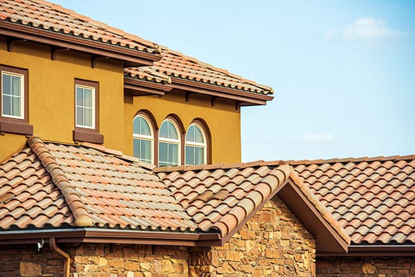 Slates Roof. Modern American South West Style Home Roof Closeup Photo.